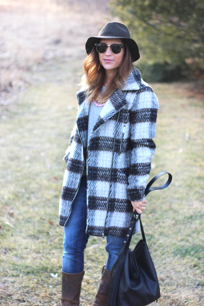 Fashion Inspiration: plaid coat and jeans