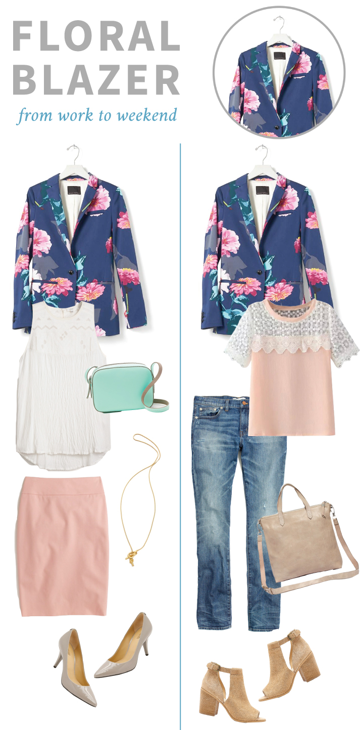How to wear a floral blazer from Banana Republic
