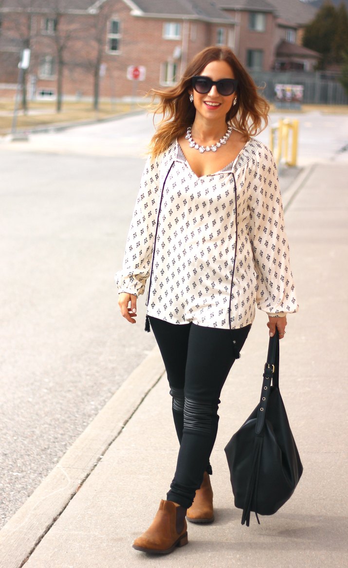 Peasant Top with Yoga Brand Jeans, Olive + Piper Necklace