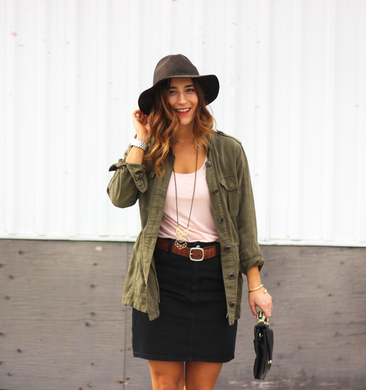Topshop Cargo Jacket and Black Pencil Skirt - Spring Outfit Inspiration