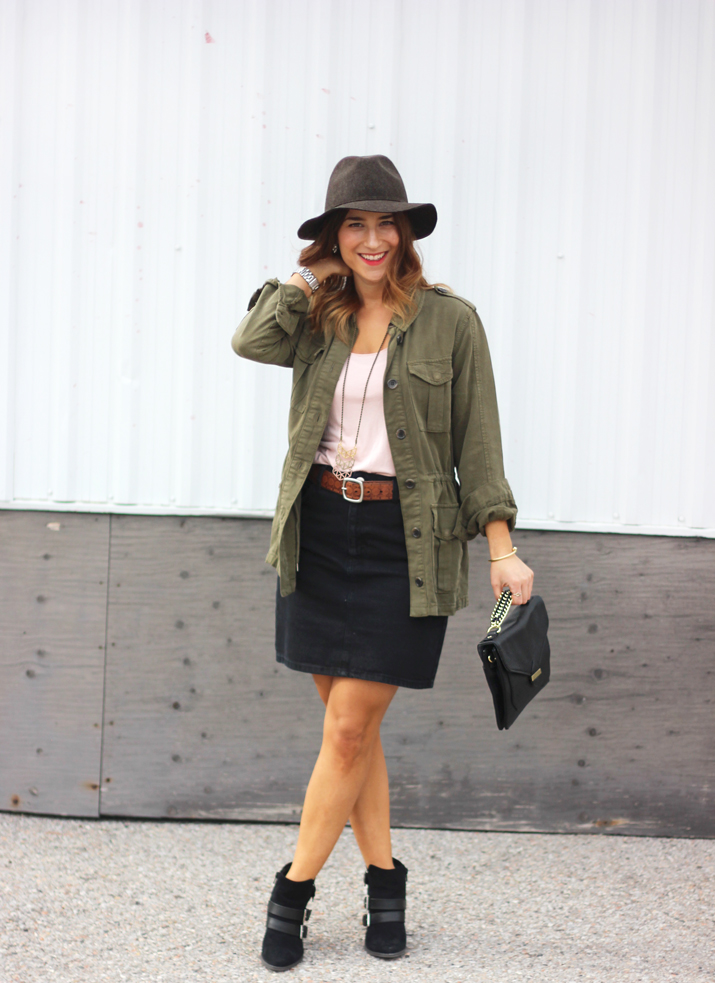 Topshop Cargo Jacket and Black Denim Pencil Skirt, Foxy Originals Necklace