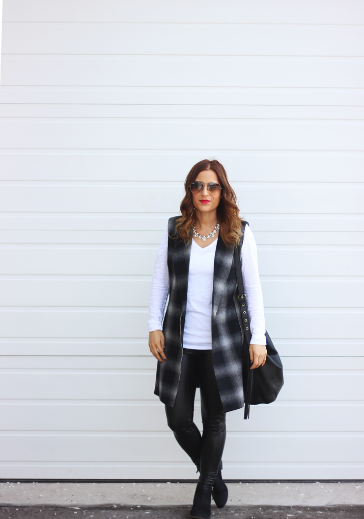 Toronto fashion blog, Something About That - wearing WAYF longline plaid vest