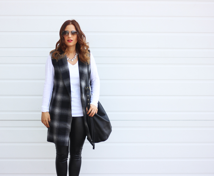 WAYF Plaid Longline Vest and Aritzia Wilfred Daria Pant, as seen on Toronto Fashion Blog, Something About That