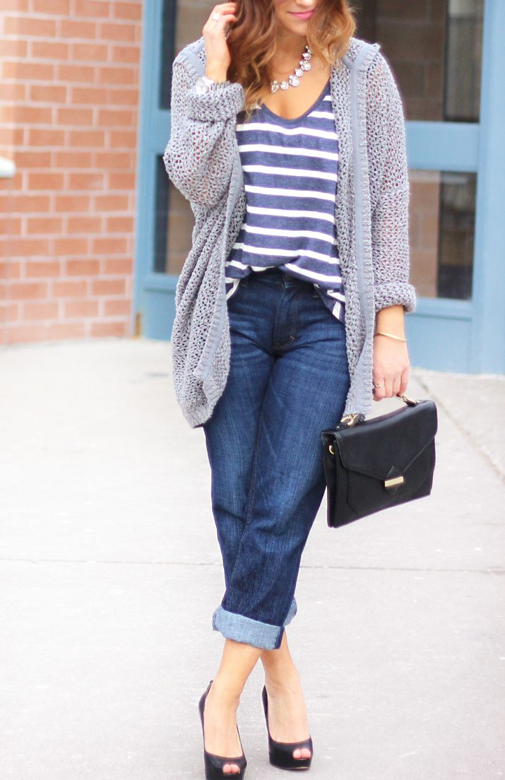 Easy weekend outfit idea - Striped t-shirt from Madewell, Hooded cardigan from Aritzia and boyfriend jeans from Banana Republic