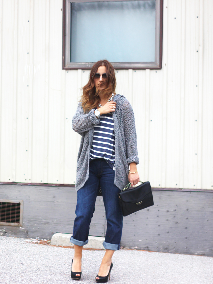 Boyfriend jeans from Banana Republic, hooded cardigan from Aritzia and striped tee