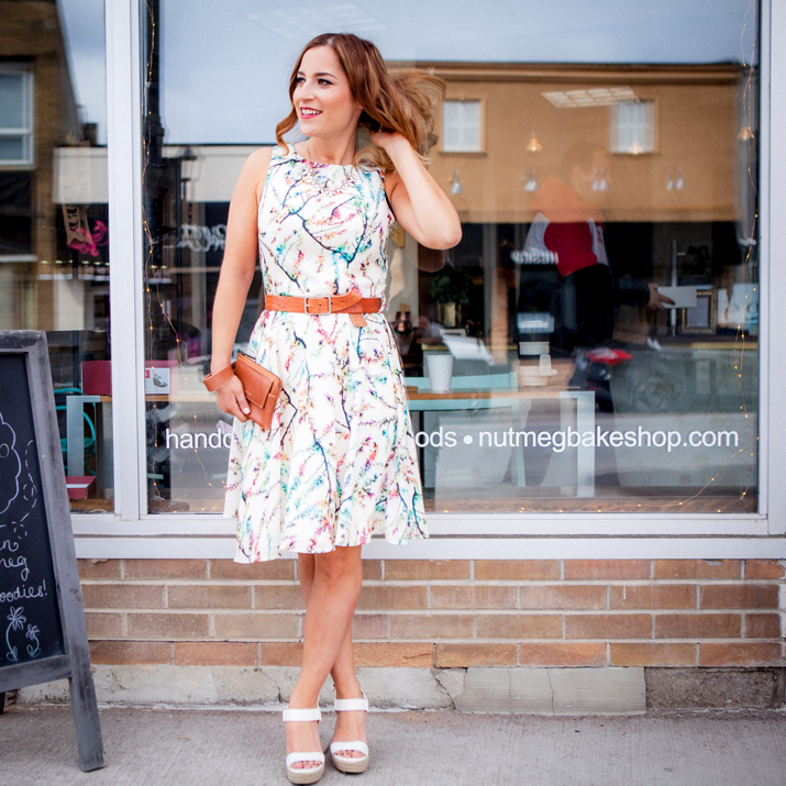 Canadian Fashion Blogger, Jackie Goldhar, wearing a summer dress from Lemonberry