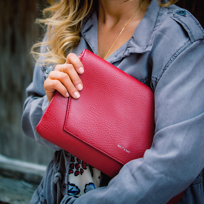 Matt & Nat Red leather clutch - statement accessory