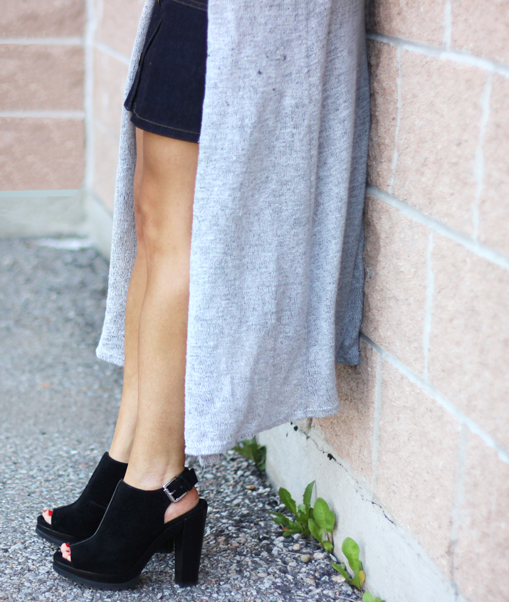 Forever21 Long-Line Cardigan and Michael Kors Chunky Peep Toe Heels