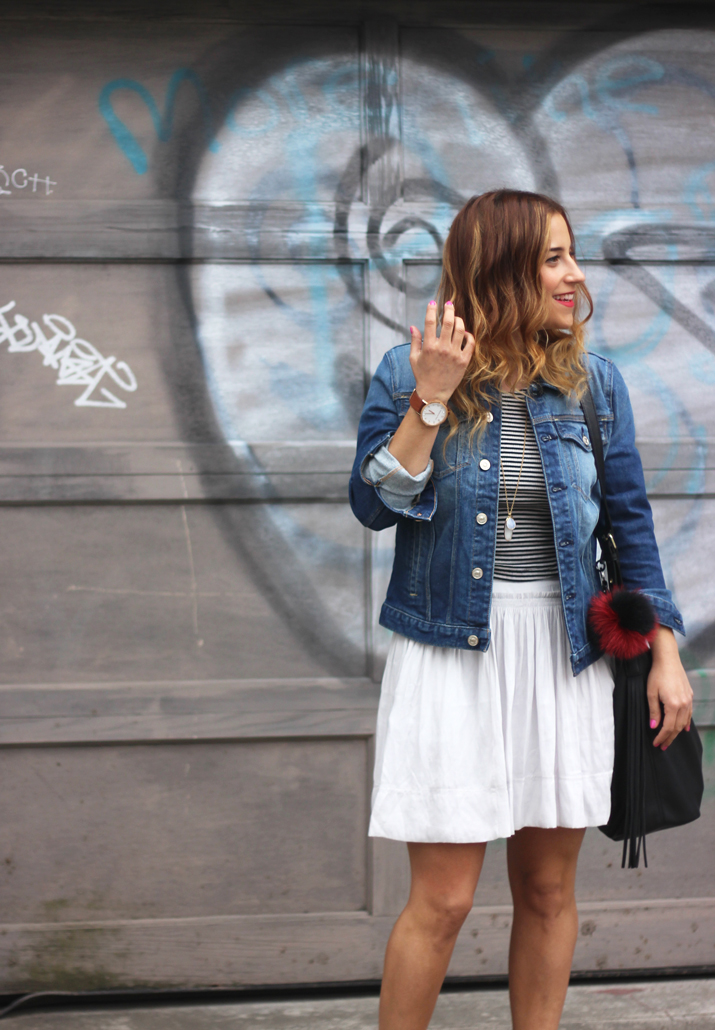 How to wear a jean jacket with a skirt - Toronto Fashion Blogger