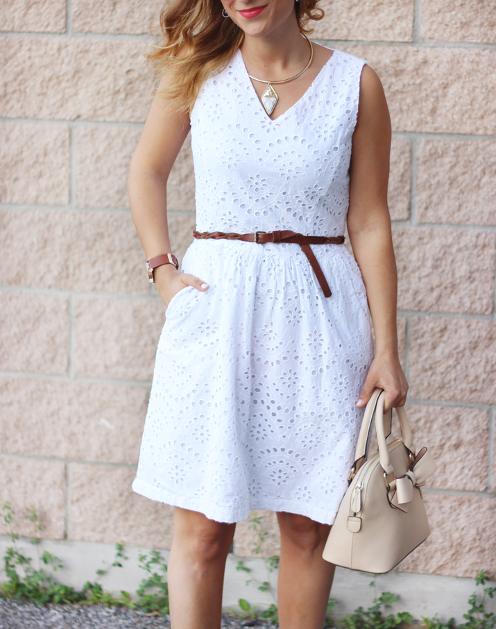 How to wear a white eyelet dress - as seen on Toronto Fashion and lifestyle blogger - found at Dixie Outlet mall