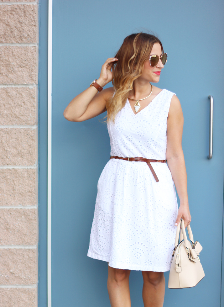 Sharing my Dixie Deals - an eyelet white dress found by Toronto Fashion Blogger at Winners