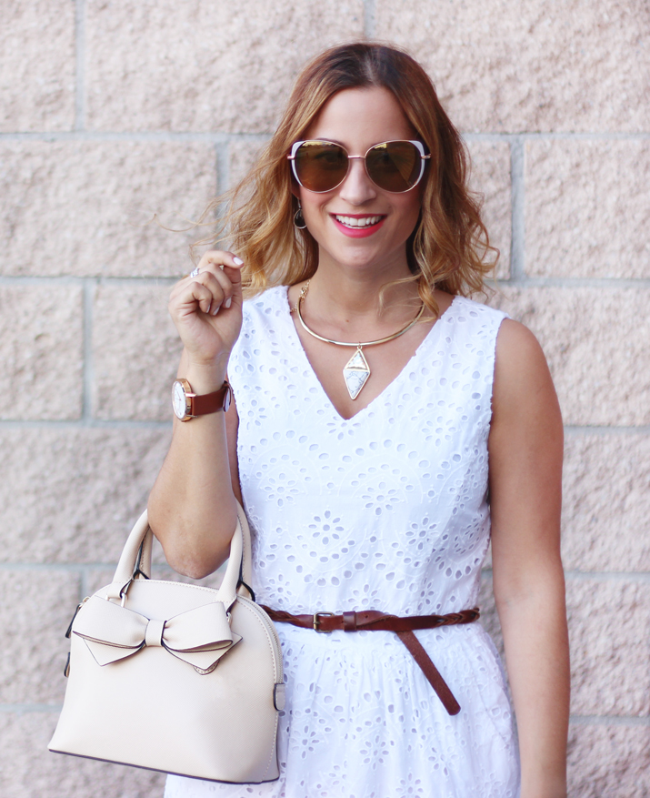 Dixie Outlet Mall Finds - White Eyelet Summer Dress from Winners and a pink handbag from Aldo Accessories Outlet