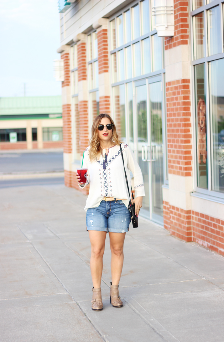 Peasant Top from THML and Gap Denim Shorts - Toronto fashion blog