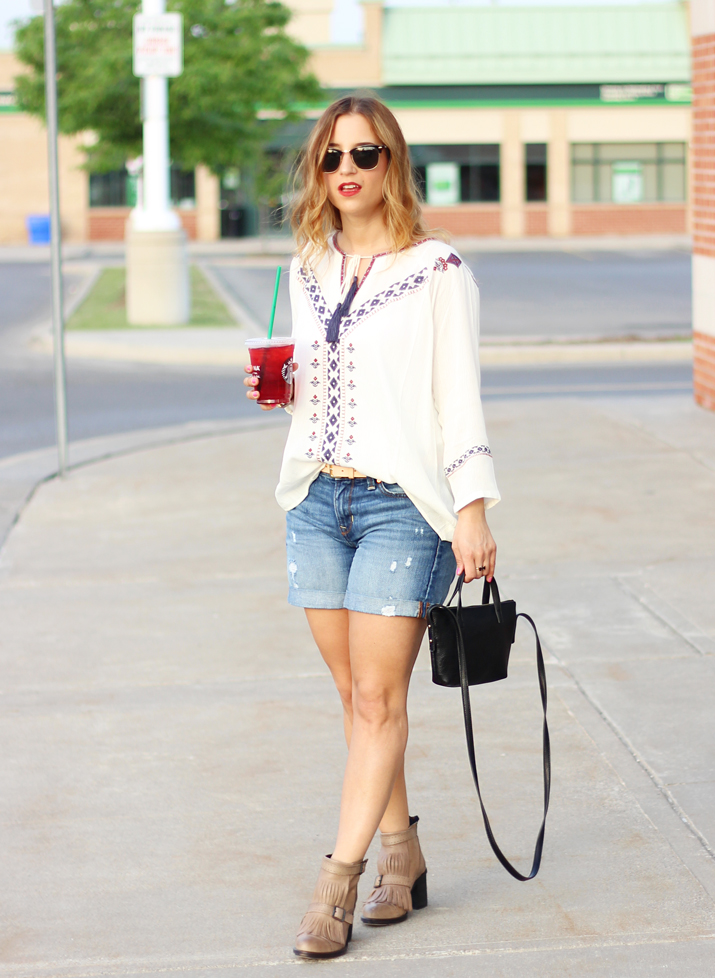 Peasant Top from THML and Gap Denim Shorts