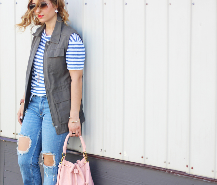 Canadian Fashion Blogger - Distressed Denim, Striped T-shirt and Gentle Fawn Cargo Vest
