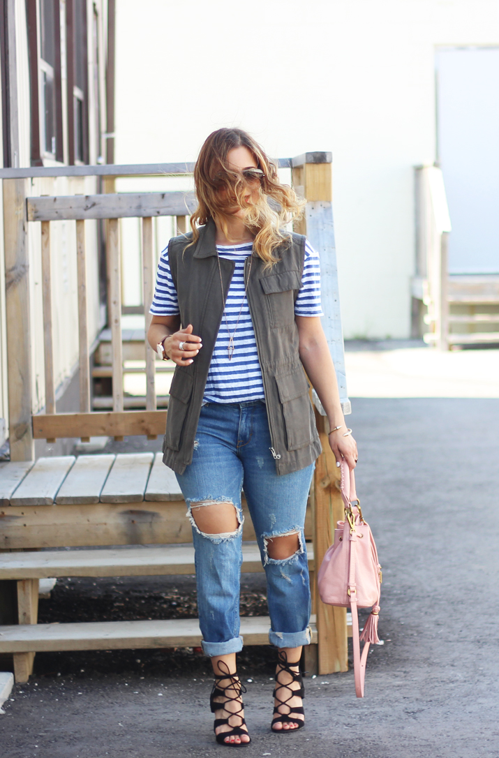 Canadian Fashion Blogger - Striped T-shirt and Gentle Fawn Utility Vest