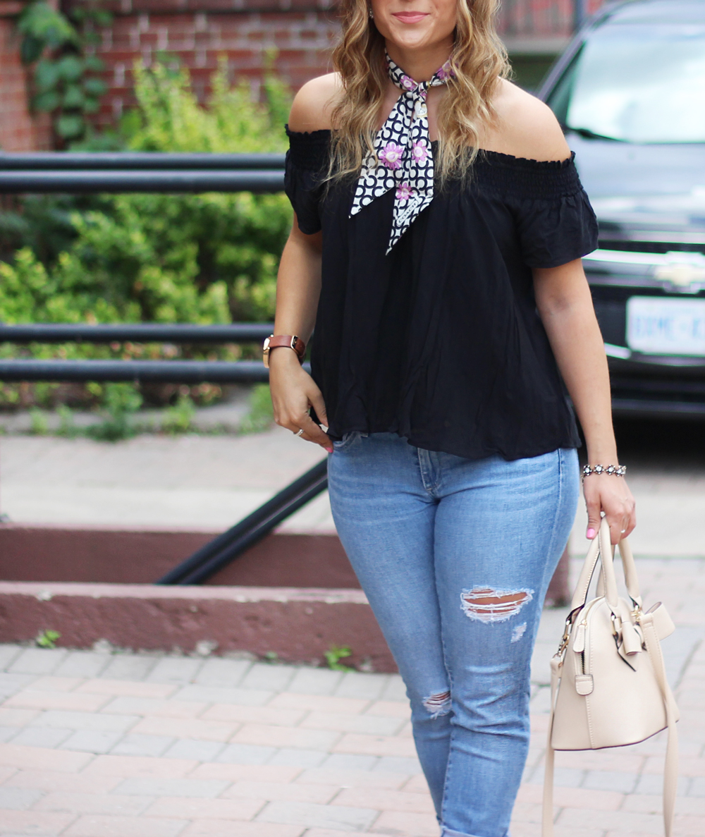 Off The Shoulder Top from Aritzia with ripped AG Jeans