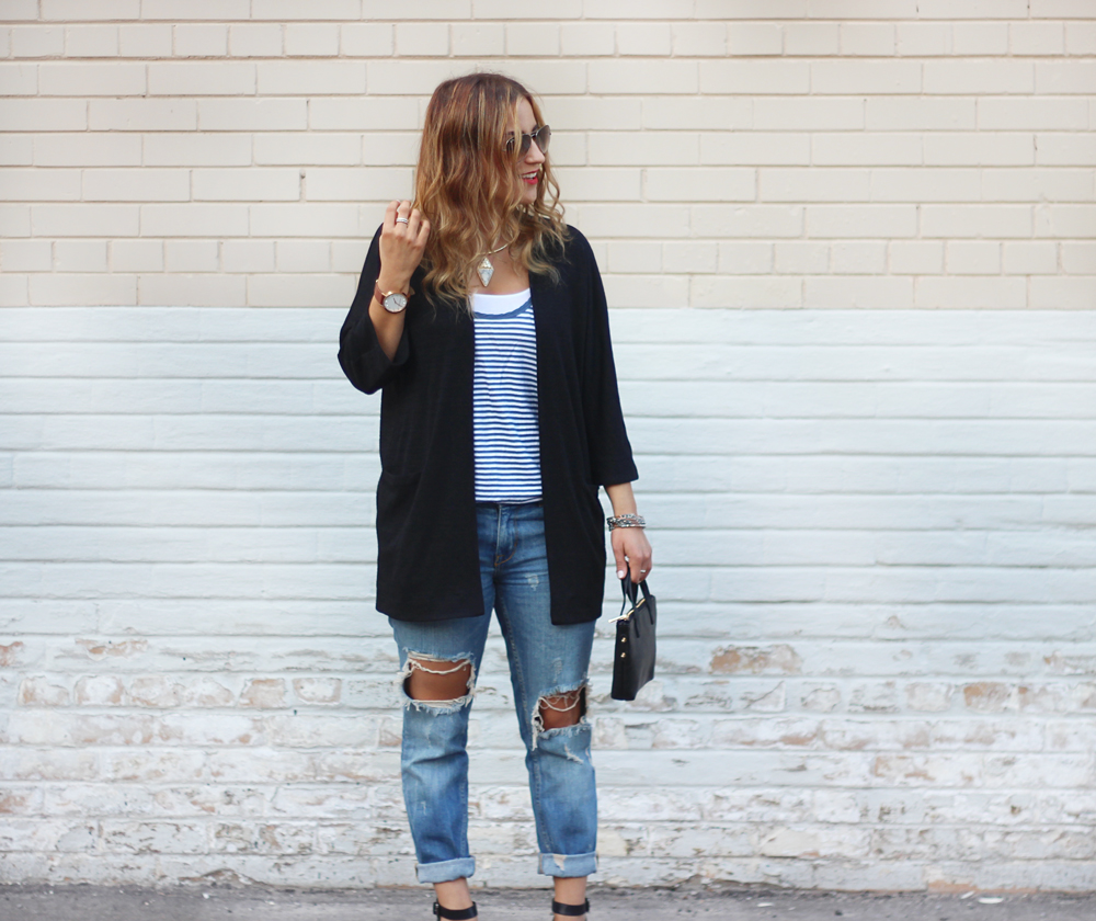 Zara Ripped Jeans and Aritzia Cardigan