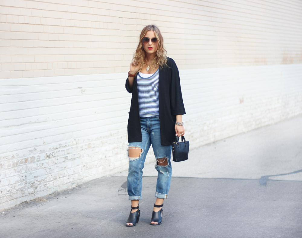 Summer Outfit from Toronto Fashion Blog - Zlata Sweater from Aritzia and Zara Ripped Jeans