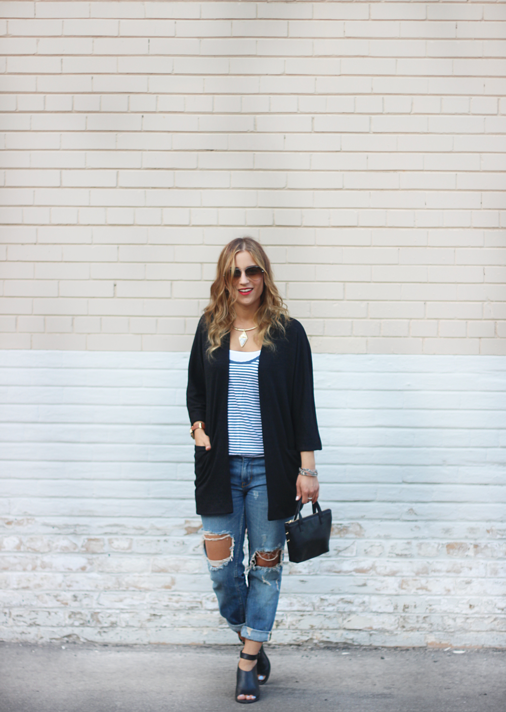 Summer outfit - Cardigan and Ripped Denim
