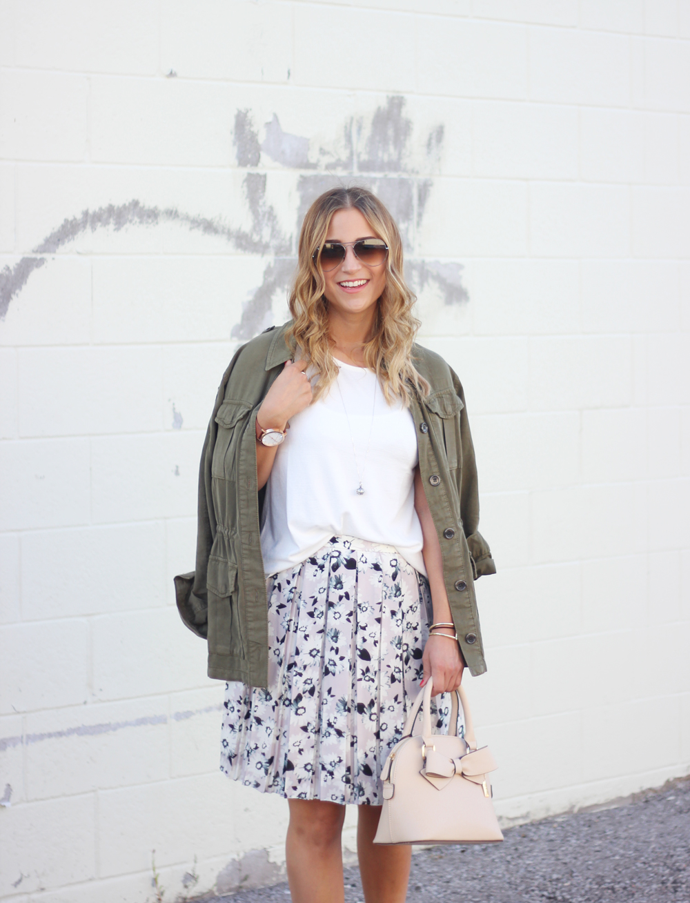 Topshop Utility Jacket and Banana Republic Floral Skirt, softspun knit tank from Gap