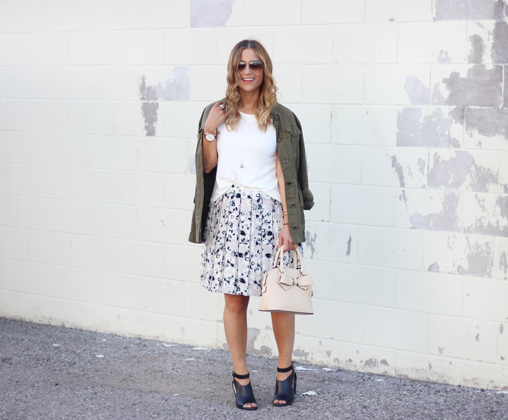 Transition to Fall with this Banana Republic Floral Skirt and Topshop Utility Jacket