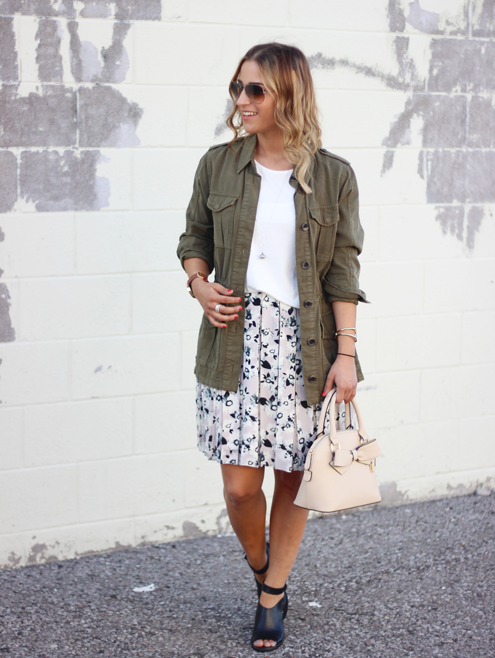 Cargo Jacket from Topshop and Floral Box-Pleat Skirt, Peep Toe Booties