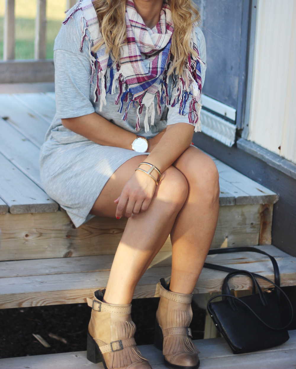Bench Expertism Dress and Fringe Free People Booties