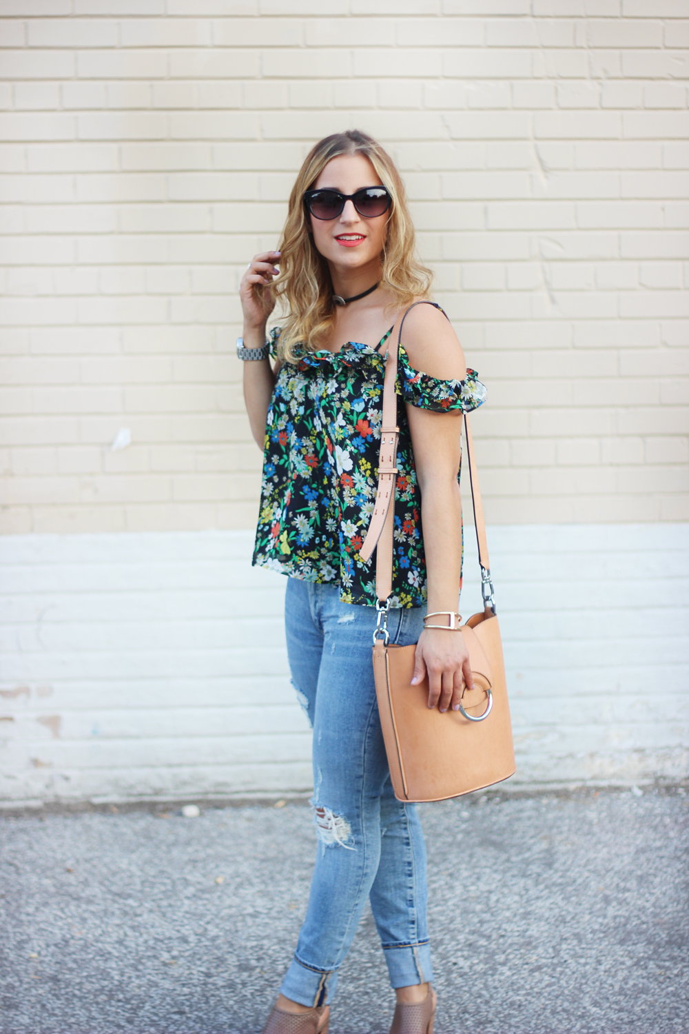 Topshop Floral Off the Shoulder Top and Gap Destructed True Skinny Jeans