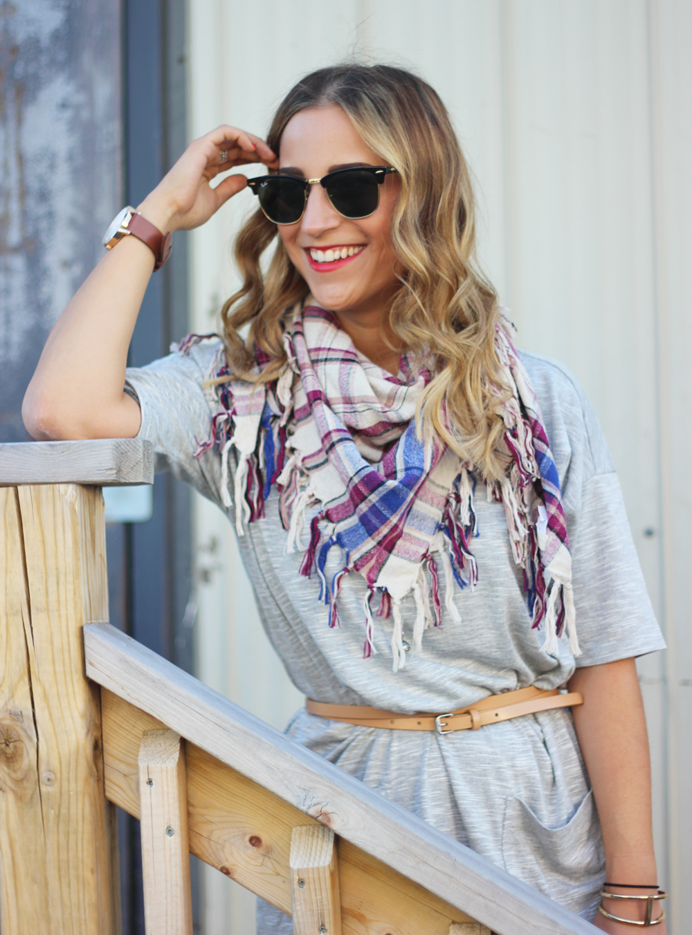 Plaid scarf from Aritzia and t-shirt dress