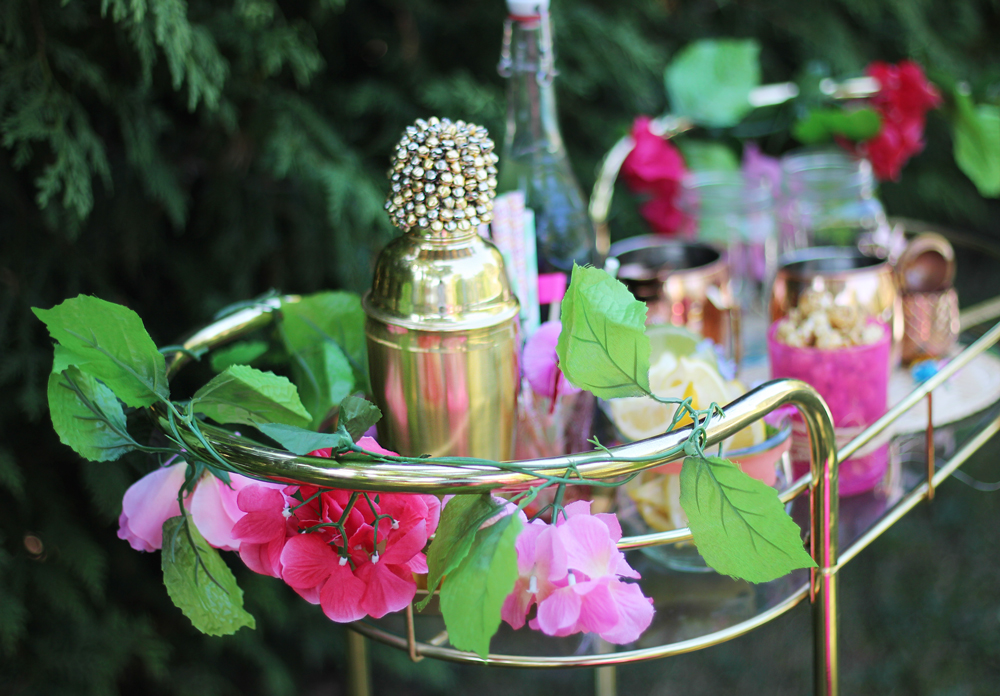 Summer party essentials - stocked bar cart