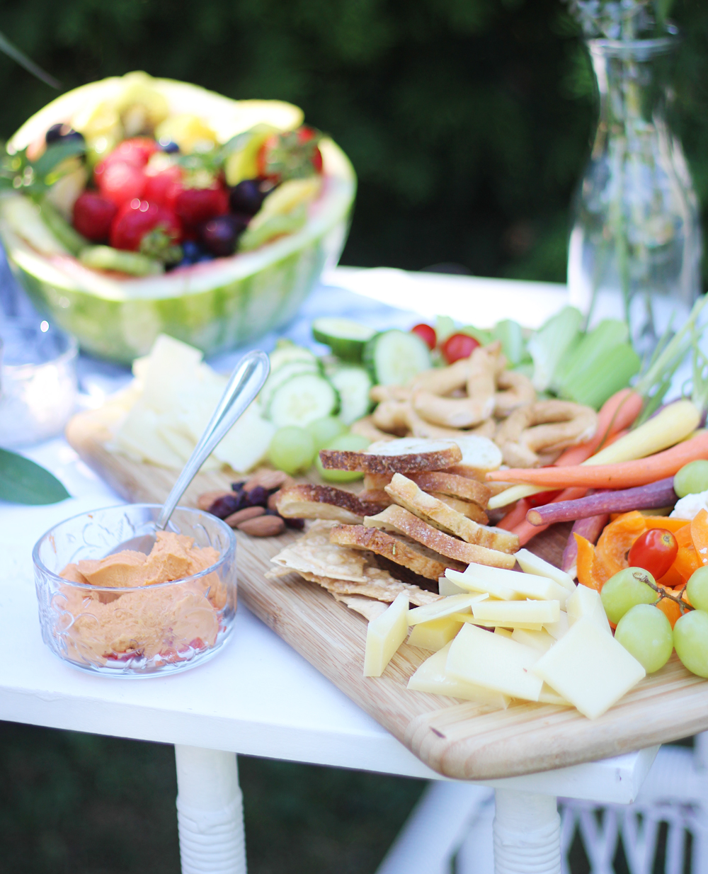 Summer Party Essentials - Healthy Snacks (cheese platter, vegetables, dips, fruit)