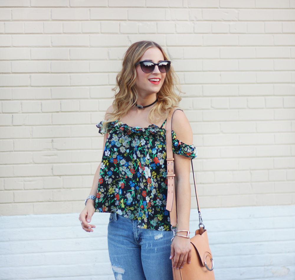 Topshop Floral Top, Fysh UK Sunglasses and Brave Leather Fantiv Leather Choker