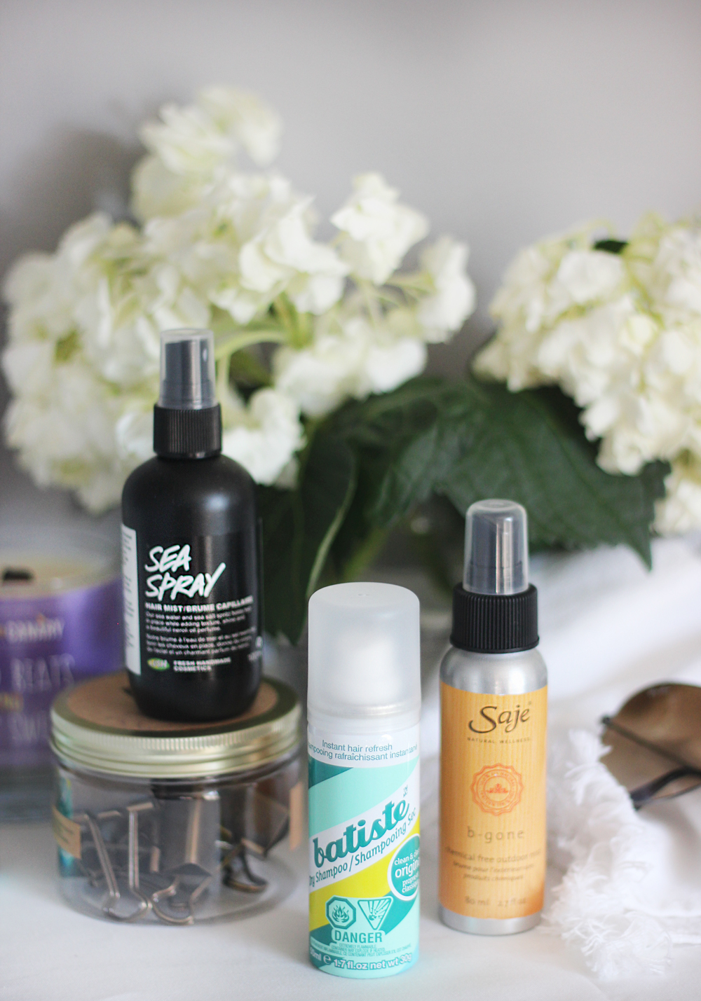 Lush Sea Spray | Batiste Dry Shampoo Travel Size | Saje B-Gone Chemical-Free Mist