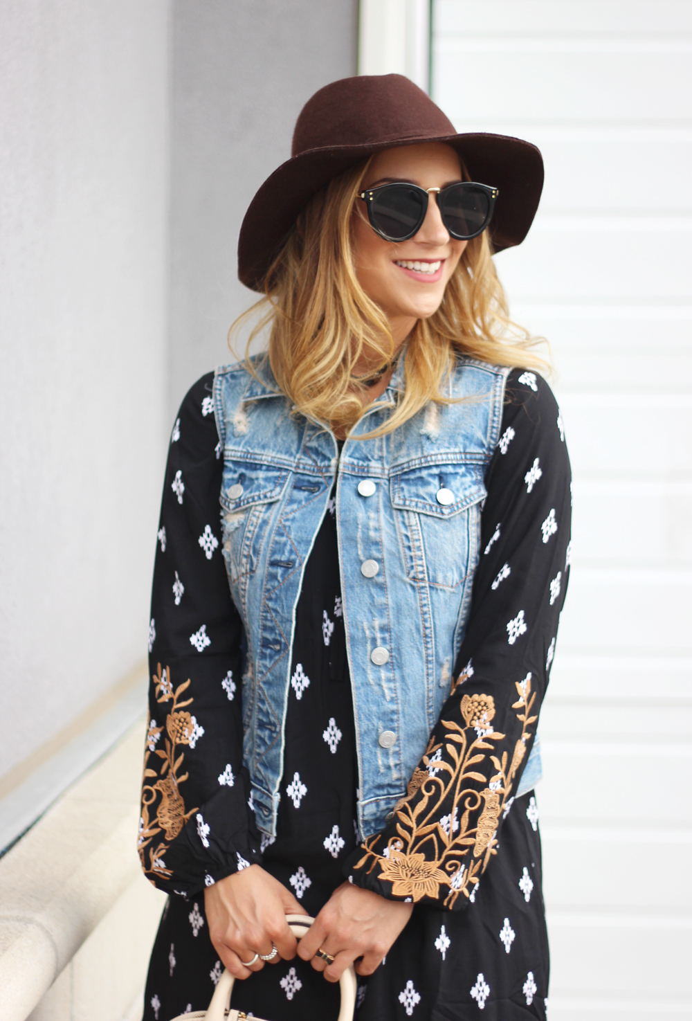 Fall boho outfit idea - felt wide brim J.Crew hat, Shop For Jayu Sunglasses, Gap Denim Vest, THML dress