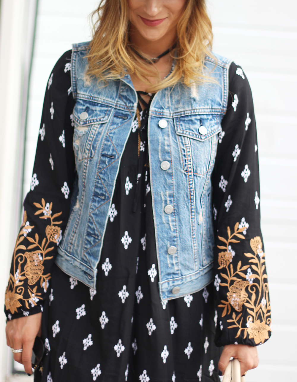 Distressed denim vest from Gap, fall boho dress from THML clothing, worn by Canadian fashion blogger