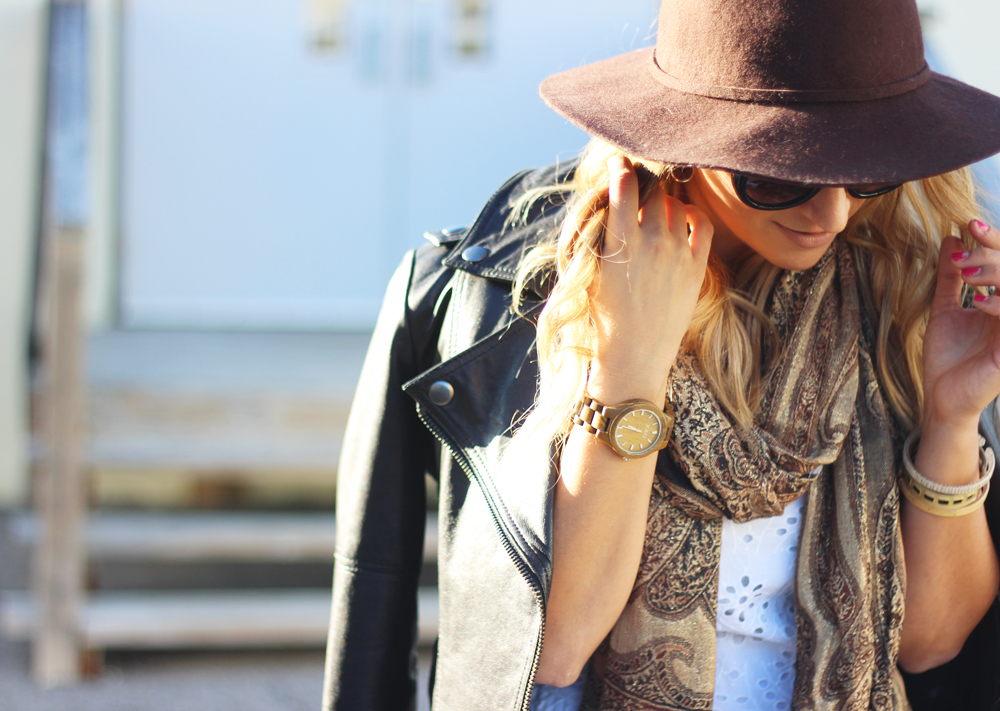 Fall Fashion - Felt Hat, Leather Moto Jacket, Blanket Scarf