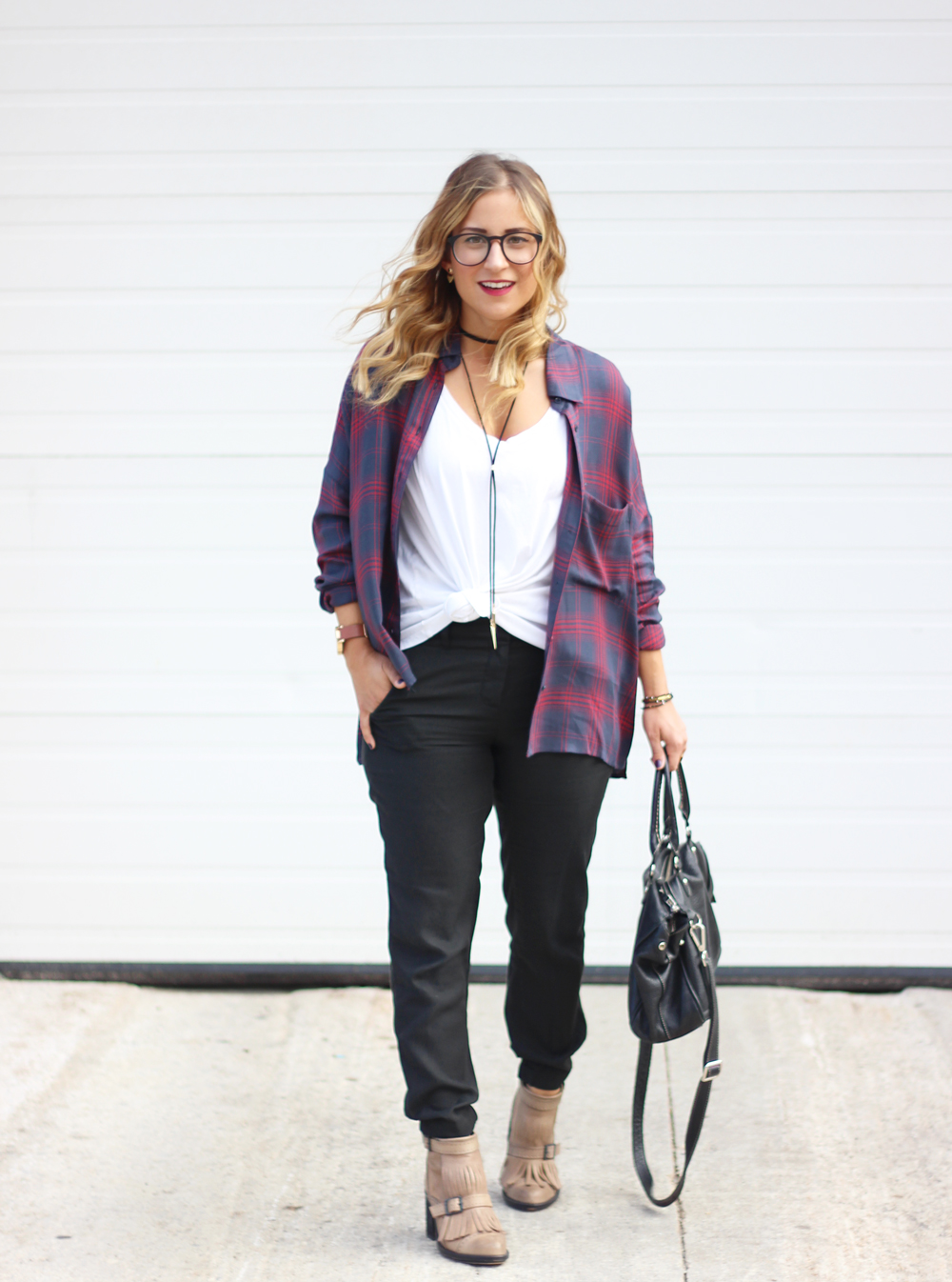 Outfit Inspiration - gentle fawn plaid button down flannel