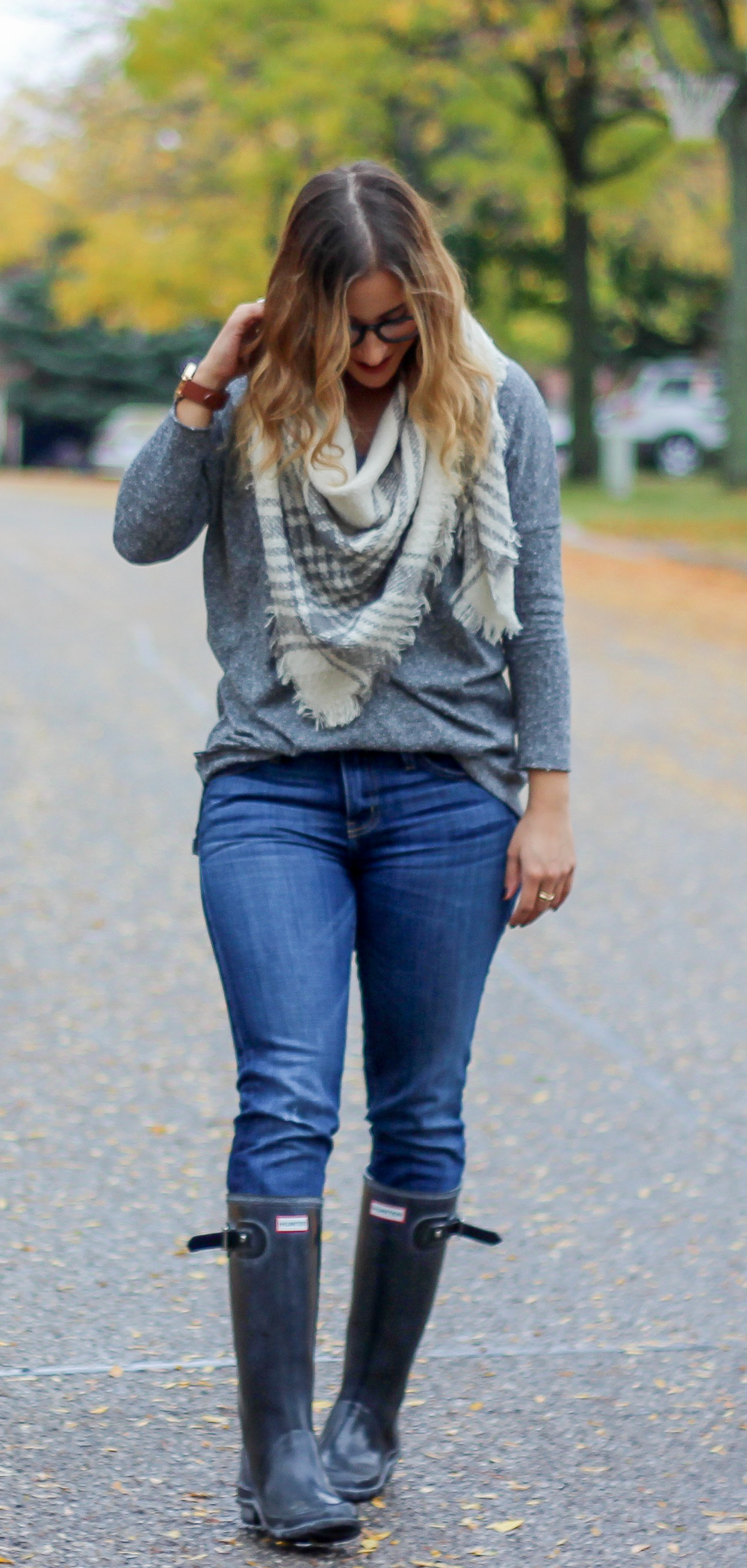 Guess Square Plaid Scarf with jeans