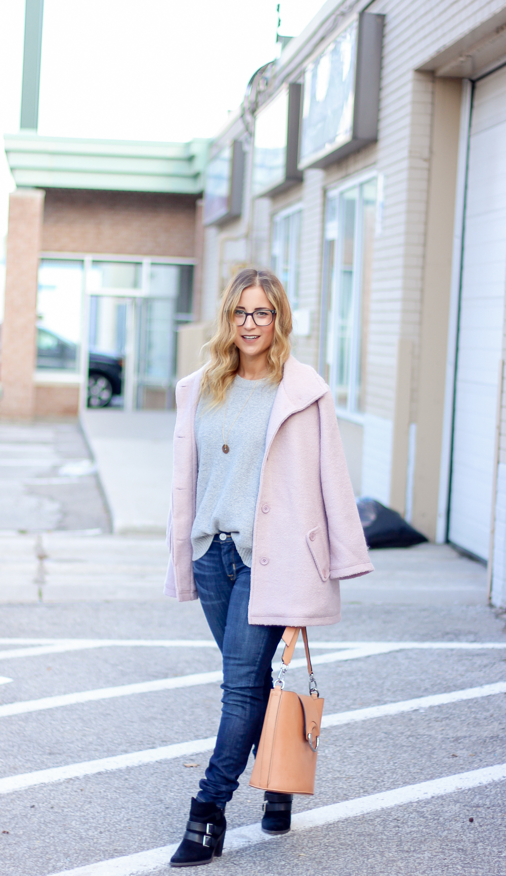Fall outfit idea - Blush Pink Cupcakes and Cashmere Coat with Dark Skinny Hudson Jeans, Madewell Sweater