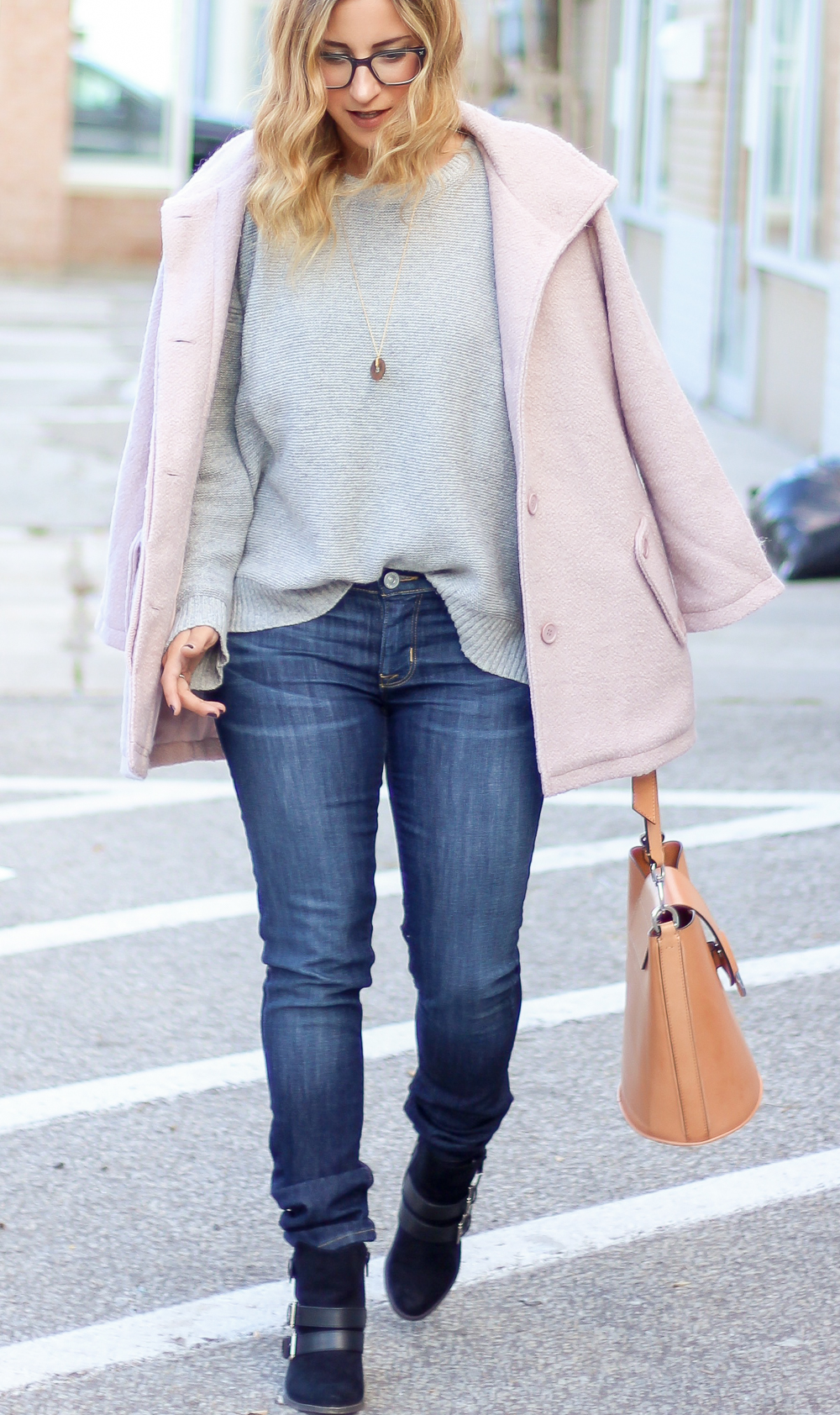 How to wear a pink coat for the fall - Coat is from cupcakes and cashmere, with dark skinny jeans and a grey sweater from Madewell