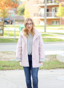 Style inspiration for fall from a Canadian Fashion Blogger - blush pink cupcakes and cashmere coat, dark Hudson skinny jeans