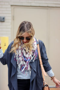 Fall outfit idea from Canadian Fashion Blogger - Pink Martini Coat, Plaid Scarf, Stripes
