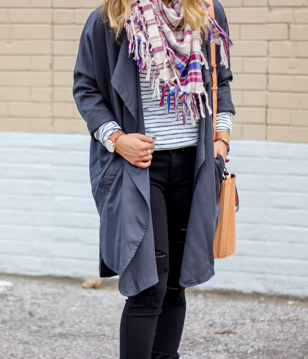 Striped long sleeve tee, black jeans and a blanket scarf - Outfit idea for a gloomy fall day
