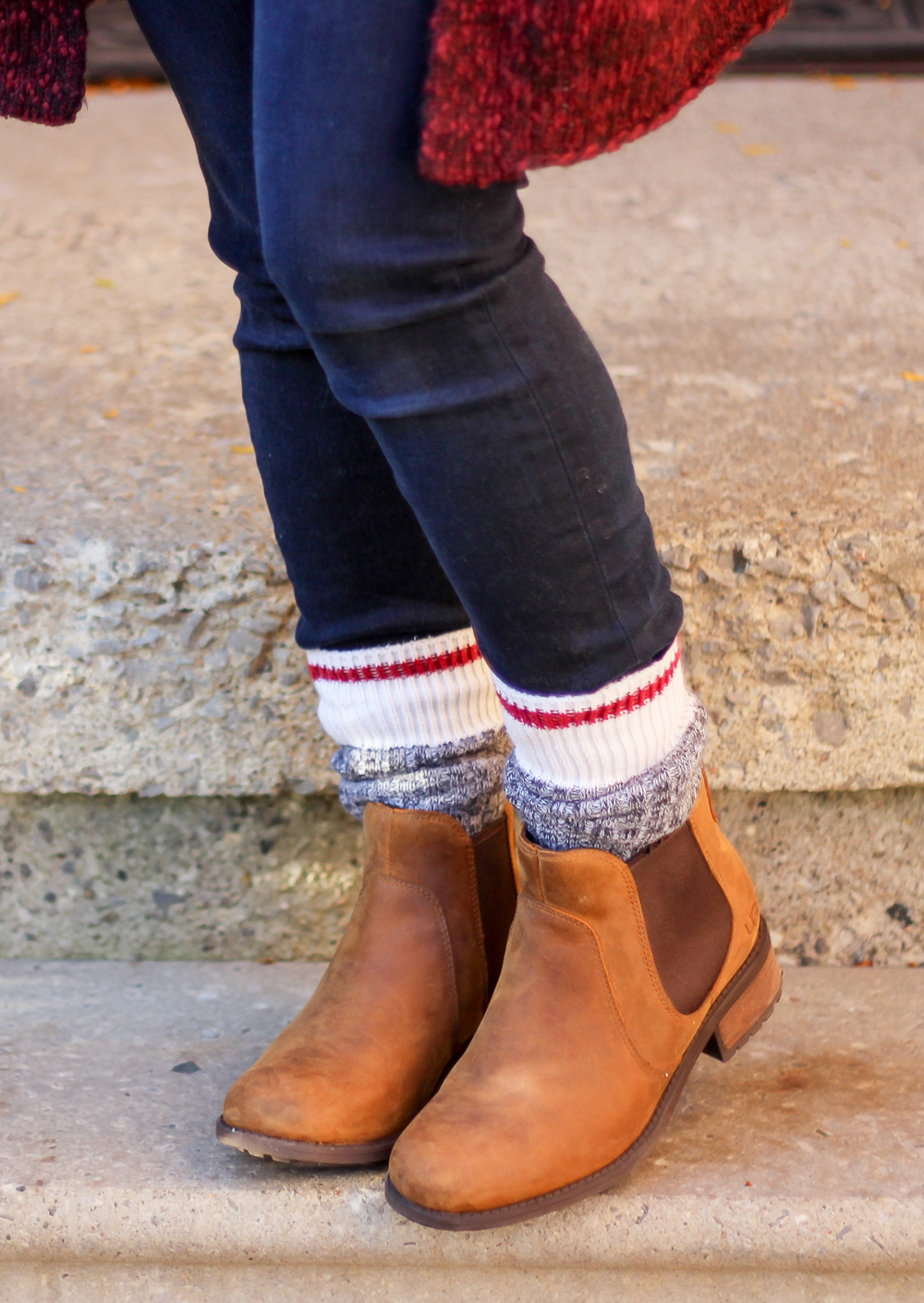 Skinny jeans, Roots cabin socks and UGG Chelsea boots - Fall fashion favourites