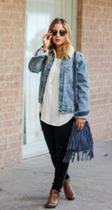 Canadian Fashion Blogger, Jackie Goldhar, from Something About That, wearing a Gap denim sherpa jacket, Brave Leather Bucket bag and Zara skinny jeans