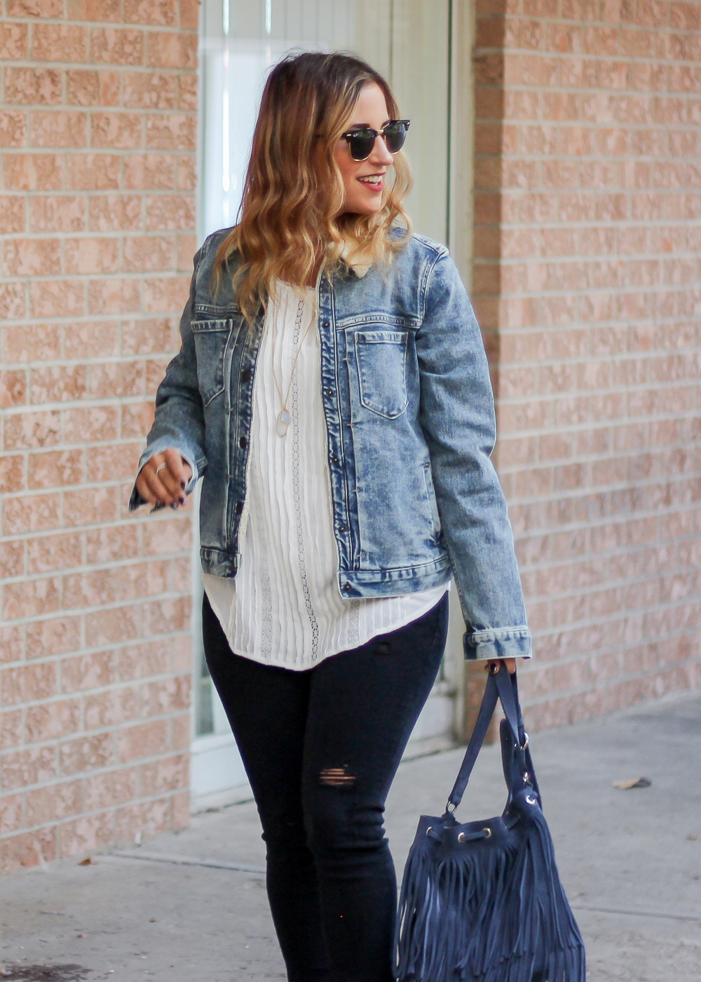 Gap 1969 denim sherpa jacket, worn by Toronto fashion blogger, Jackie Goldhar, from Something About That