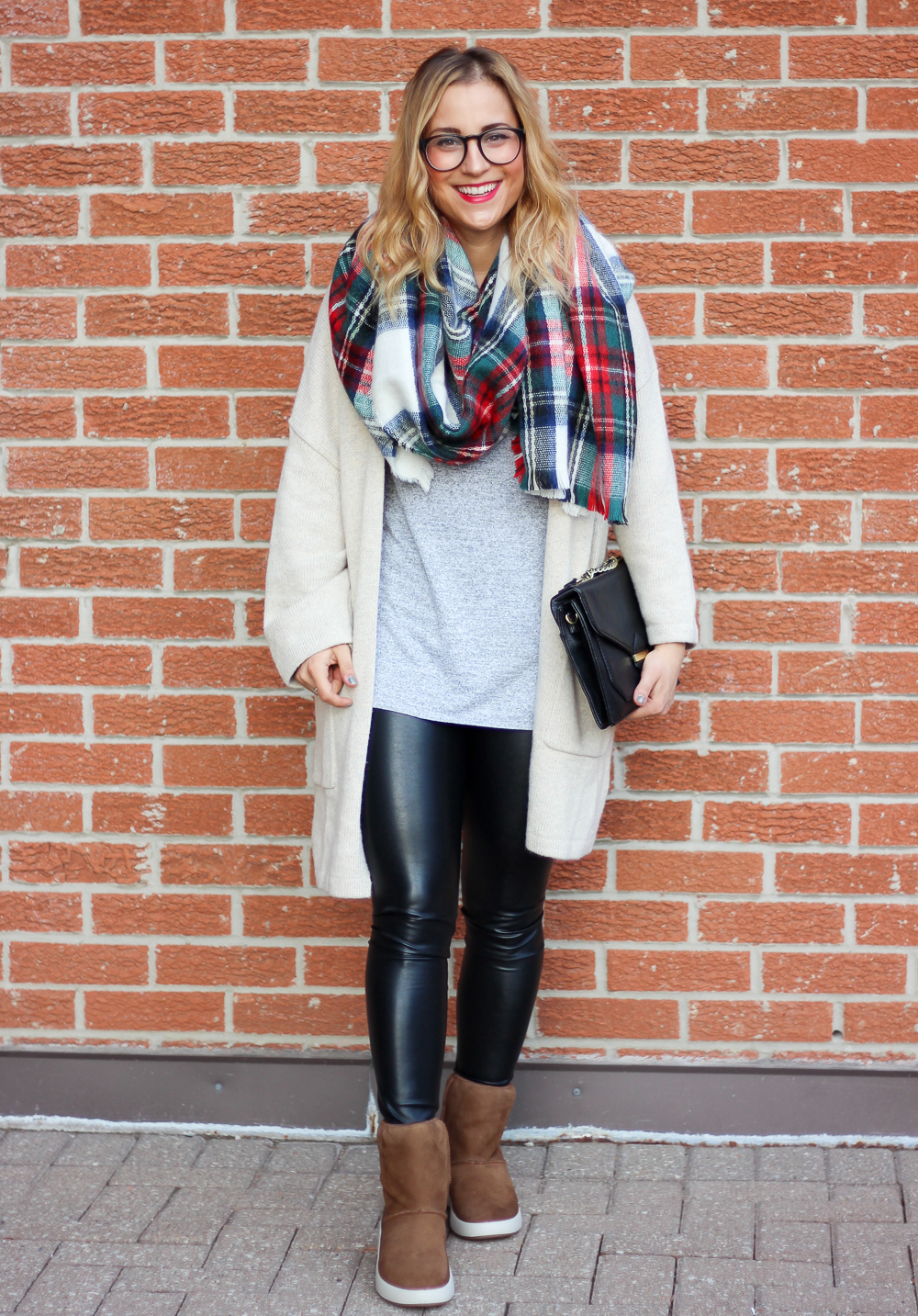Canadian fashion, beauty and lifestyle blogger, Jackie Goldhar from Something About That, wears a plaid blanket scarf, Cardigan from Gap, Wilfred Free Daria leggings from Aritzia and Ecco Ukiuk Boots