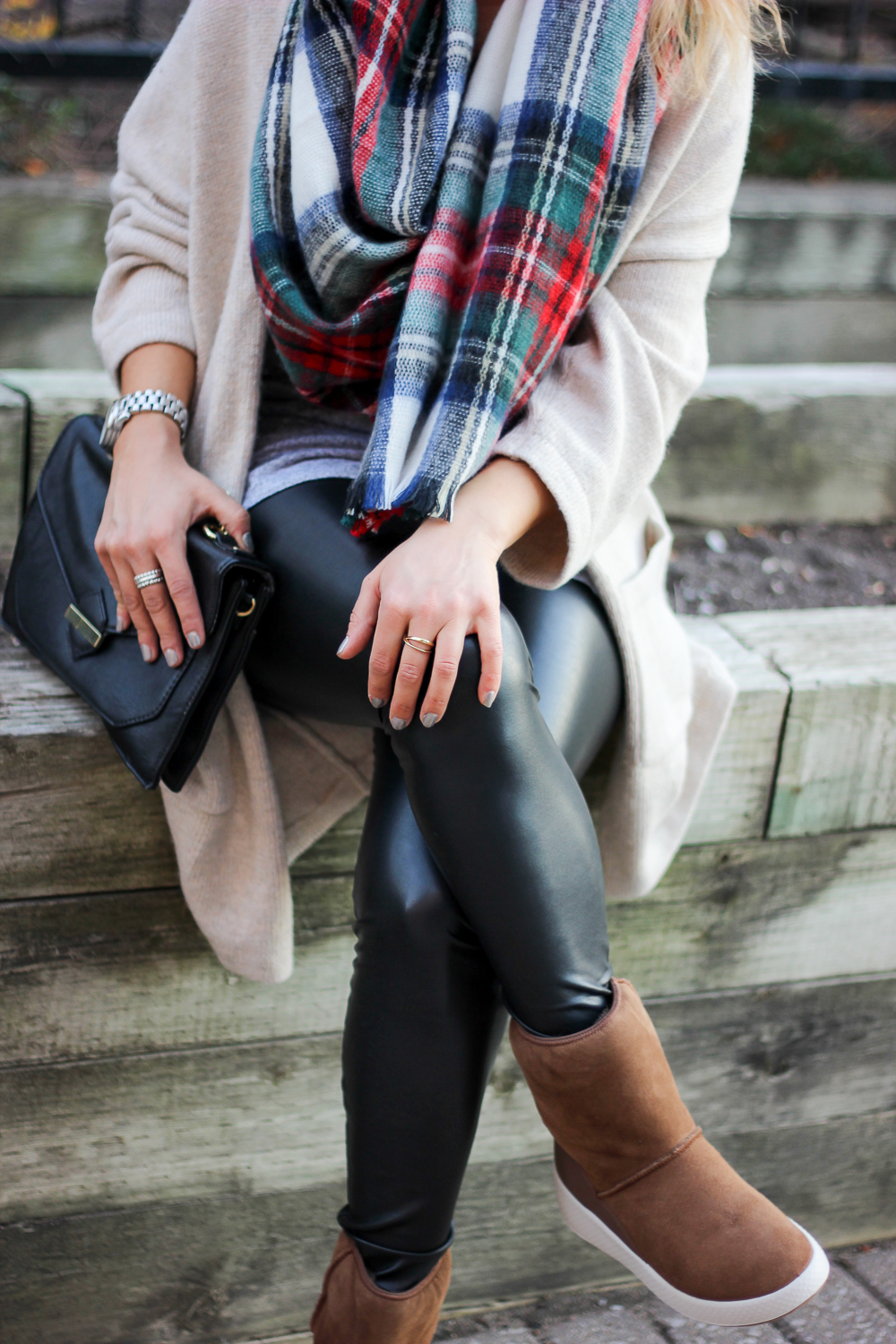 Cozy holiday outfit - Plaid scarf, Aritzia faux leather leggings, Ecco Ukiuk Boots