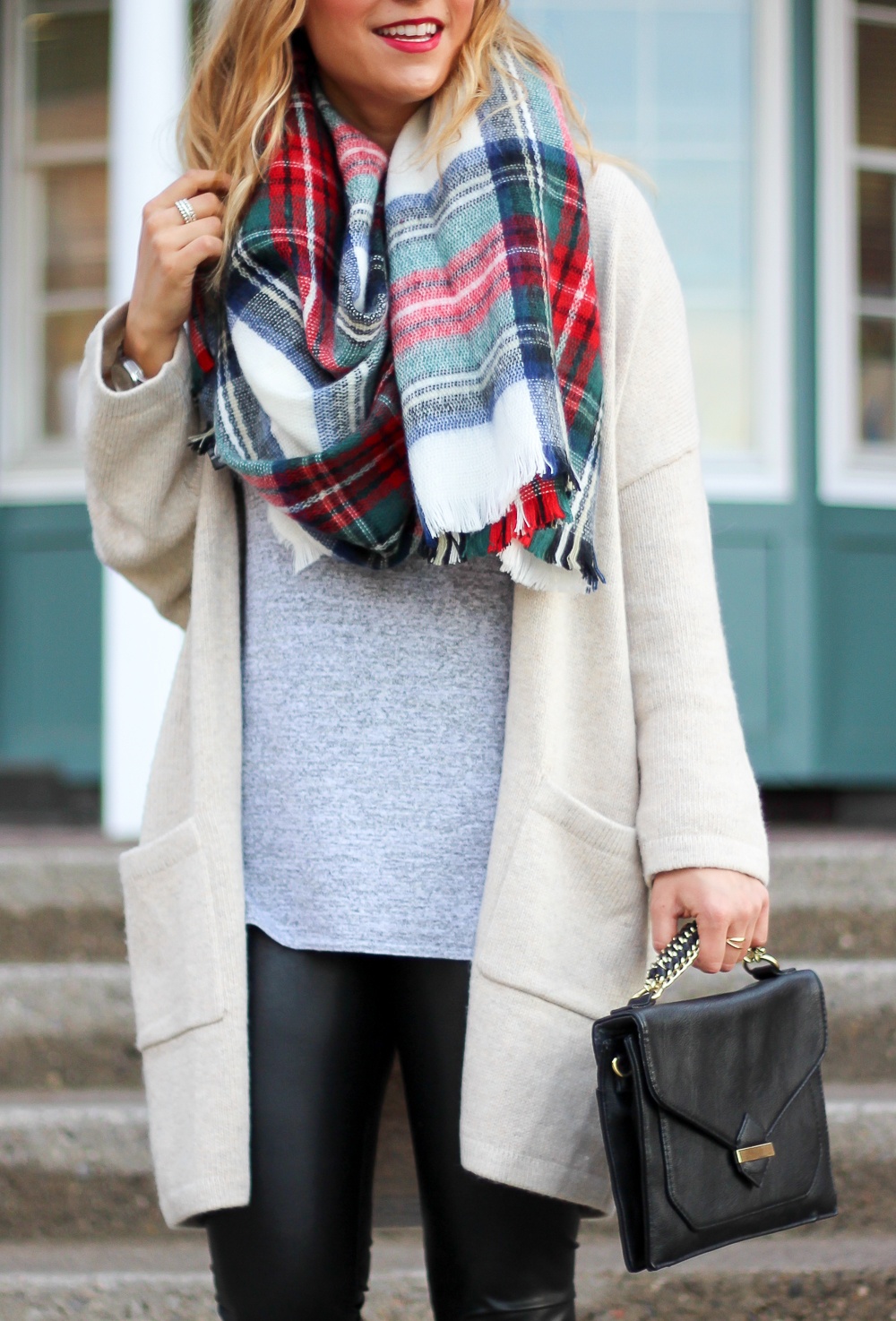 Cozy and casual outfit, perfect for the fall and winter, in a cozy Gap cardigan and plaid blanket scarf